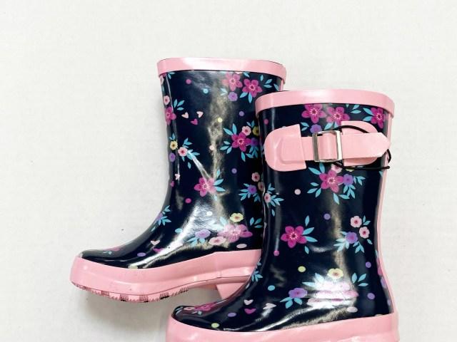 Wonder Nation Navy Floral Print Girls Novelty Rain Boot