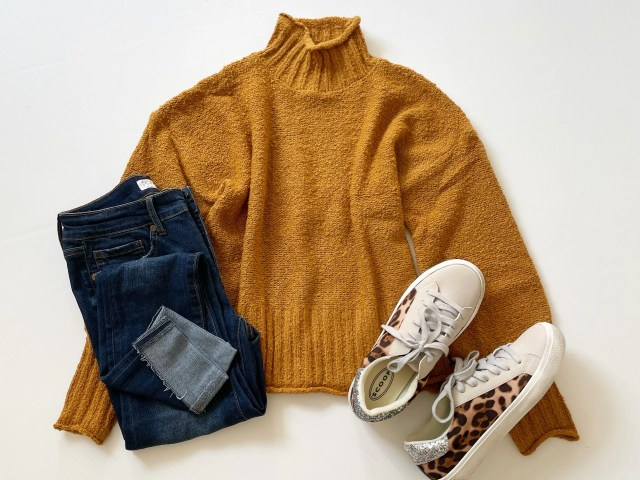 Wild Skye Drop Shoulder Mock Neck Pullover, Sofia Vergara Roll Cuff Jeans and Scoop Leopard Print Sneakers