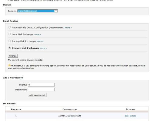 Mail Routing Settings in cPanel