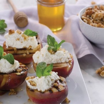 Grilled Peaches Ricotta Walnuts