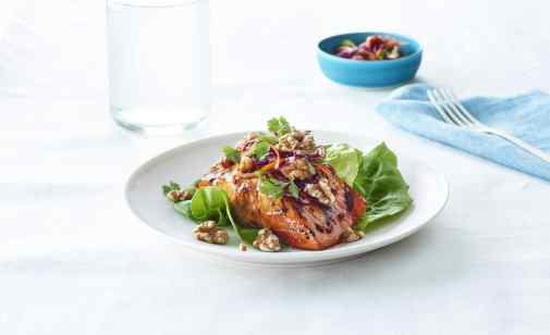 Salmon with Sweet Veggie Walnut Slaw