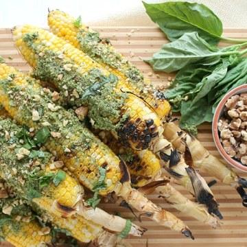 Grilled Corn with Walnut Pesto