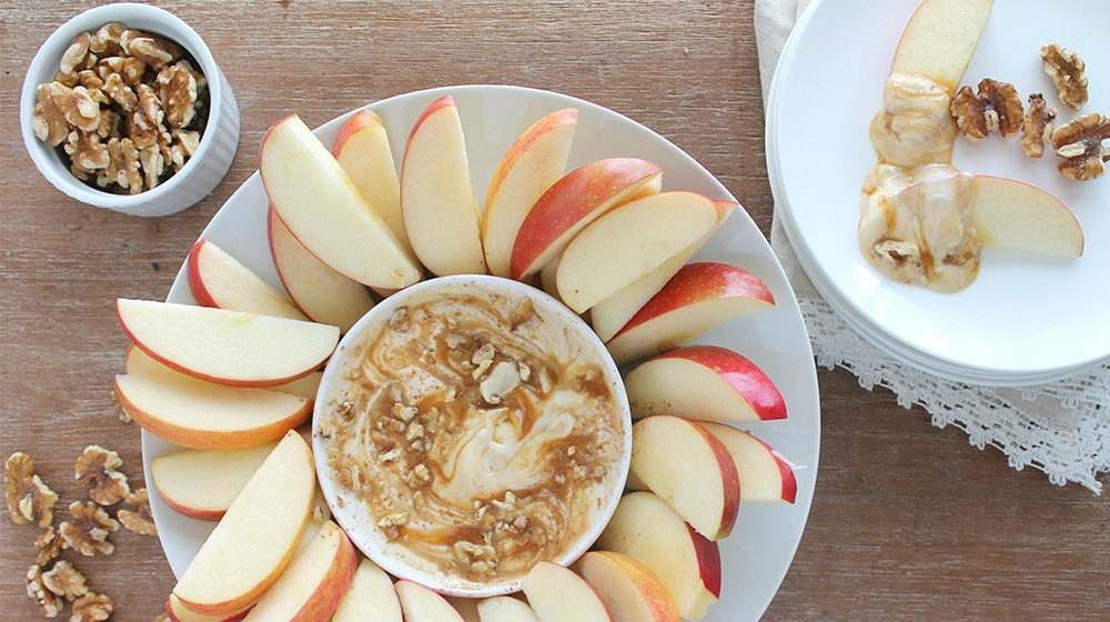 Sliced Apples with a Greek Yogurt Walnut Caramel Dip