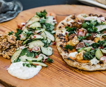 Walnut Falafel Flatbread with Red Pepper Walnut Tahini