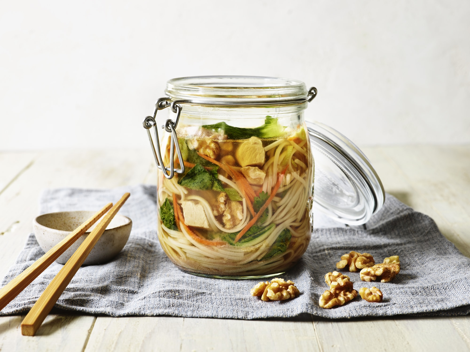 Asian Walnut Chicken Veggie Noodle Jar