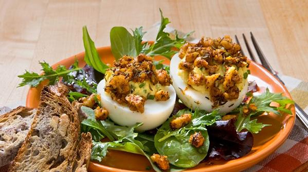 Deviled Eggs with Cajun-Spiced Walnut Crumb Topping