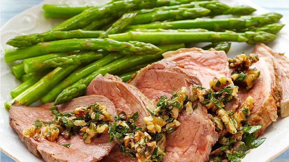 Roasted Lamb with Walnut Salsa