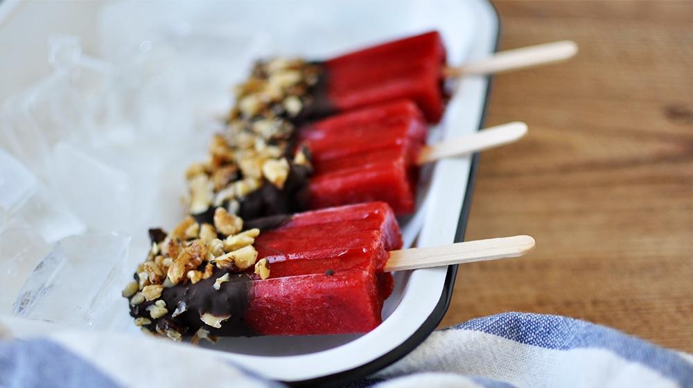 Chocolate Walnut Strawberry Popsicle