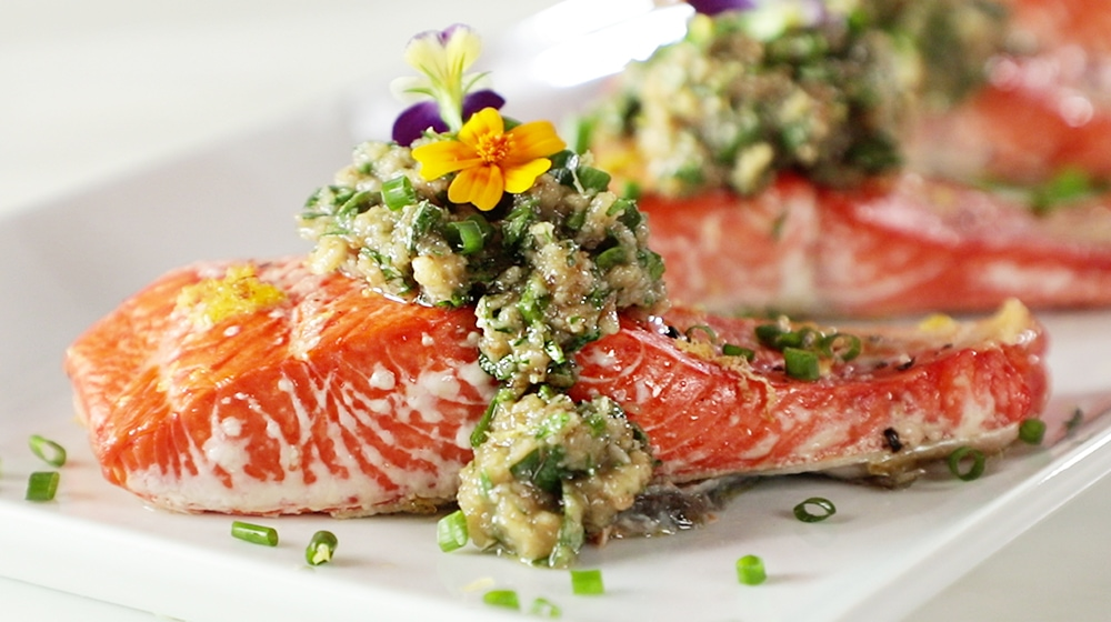 Roasted Salmon with Walnut Herb Sauce