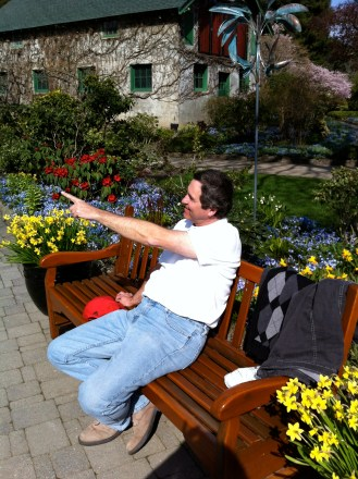 Here's Michael pointing out the sites at the Butchart Gardens.