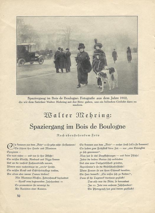 Walter Mehring dichtet nach einem Foto von 1912
