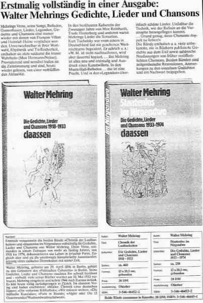 Walter Mehring: Chronik der Lustbarkeiten / Staatenlos im Nirgendwo
