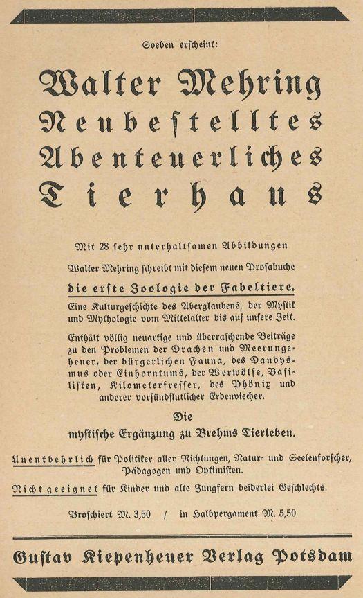 """Anzeige in der Weltbühne für Mehring """"Neubestelltes Abenteuerliches Tierhaus"""""""