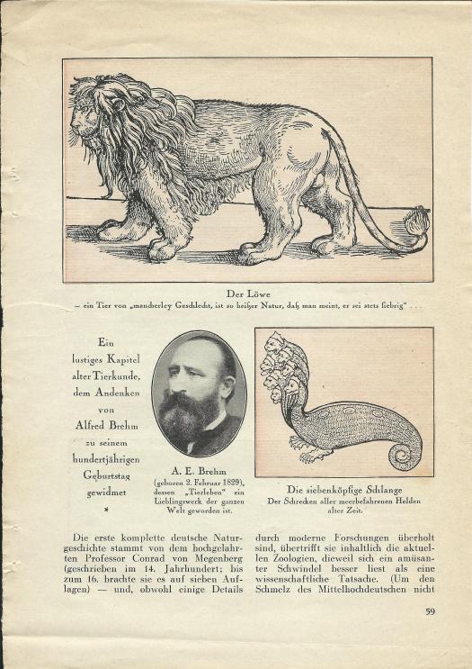 Walter Mehring: Zoologie vor 400 Jahren; erschienen in: Der Uhu, Februar 1929, S. 59