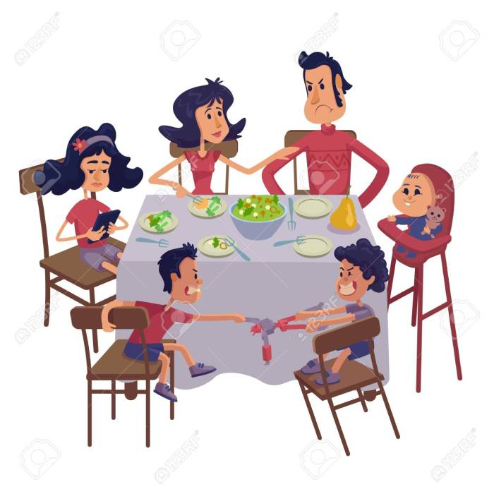 Family together having meal flat cartoon vector illustration. Mom and dad with kids at table. Ready to use 2d character template for commercial, animation, printing design. Isolated comic hero