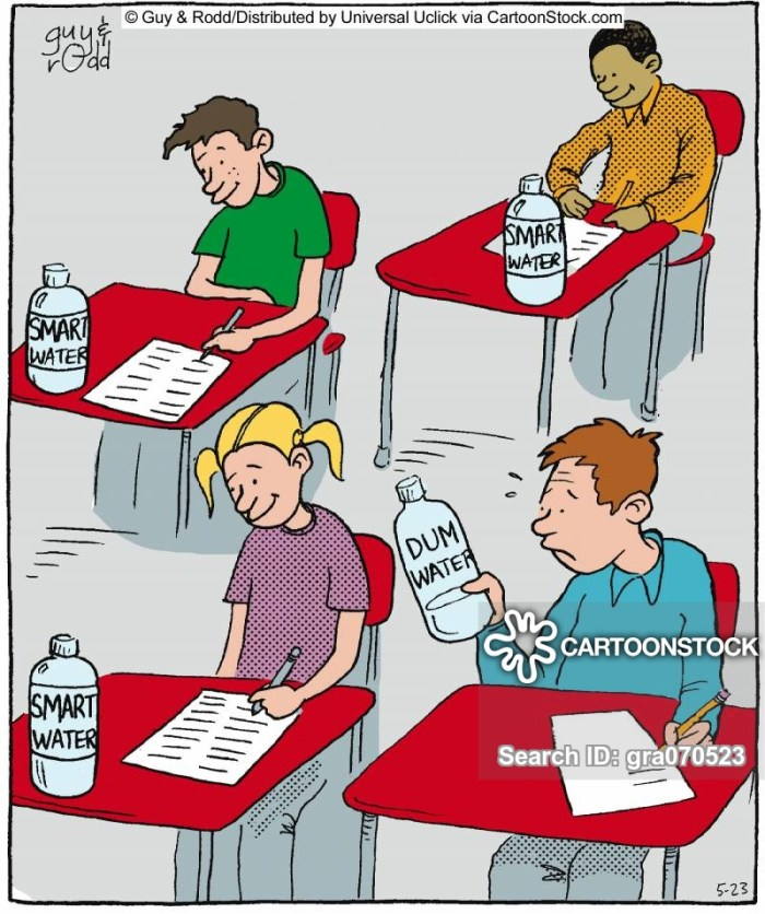 Student in the middle of an exam realises he has accidentally picked up dumb water.