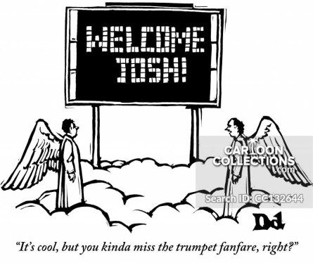 """""""It's cool, but you kinda miss the trumpet fanfare, right?""""Sign: """"WELCOME JOSH!"""""""