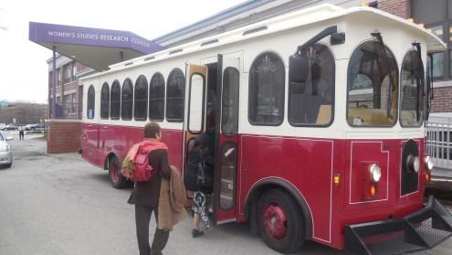 Boarding the Waltham Trolley