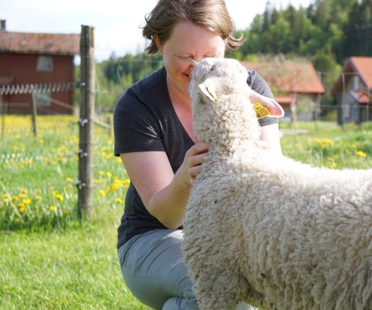 Josefin Waltin cuddling with a sheep. Dandelions and farm houses in the background.