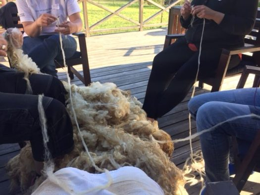 People sitting in a ring with hand teased lengths of wool going across them. A fleece on the floor in the middle.