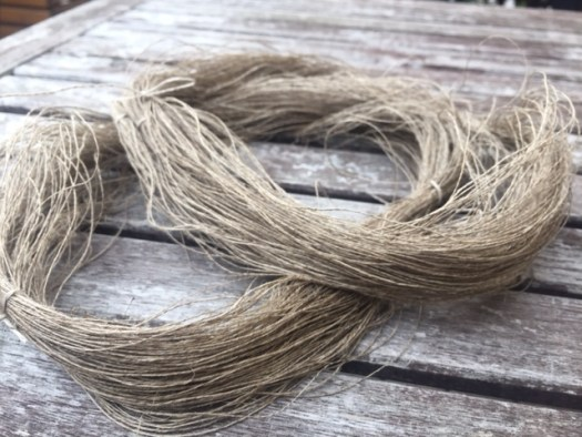 A skein of handspun flax yarn.