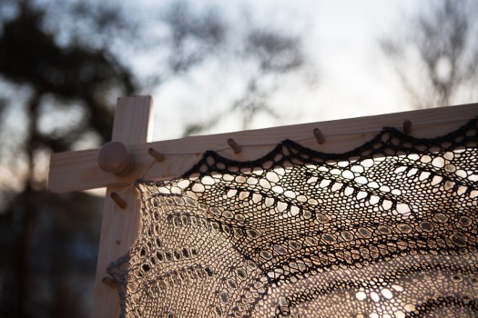 Close-up of a lace shawl