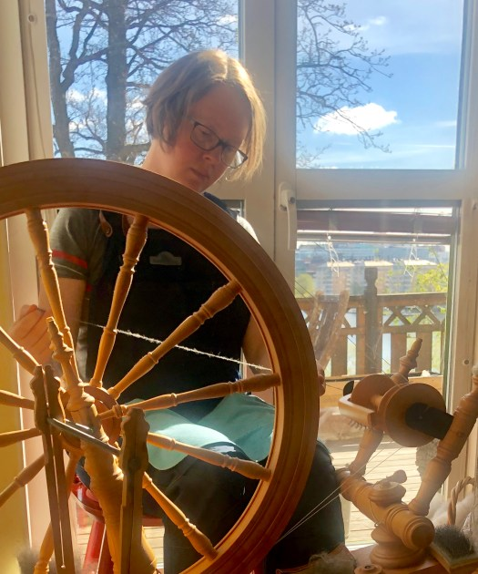Spinning Gute wool in the morning sun. Photo by Isak Waltin.