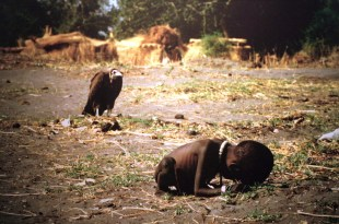 Photojournalist Kevin Carter won a Pulitzer Prize for this picture depicting the famine in Sudan in 1993.