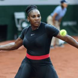"""Serena Williams in her famous """"cat suit"""" that inspired a Nike ad about female empowerment."""