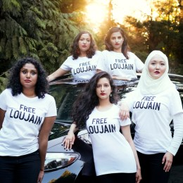 Pictured are some of Al-Hathloul, an activist put in prison, followers, fighting for her release.