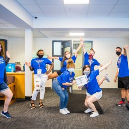 RAs in Sparrowk happily greeted new students at the beginning of the semester on Move-In Day.