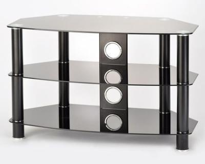 TTAP AVS-C303C-1050-3BB Vantage 3-Shelf Glass TV Stand in Black and Black Glass, 1050mm