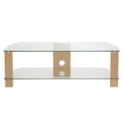 TTAP L630-1200-2OC Vision 2-Shelf Glass TV Stand in Oak and Clear Glass, 1200mm