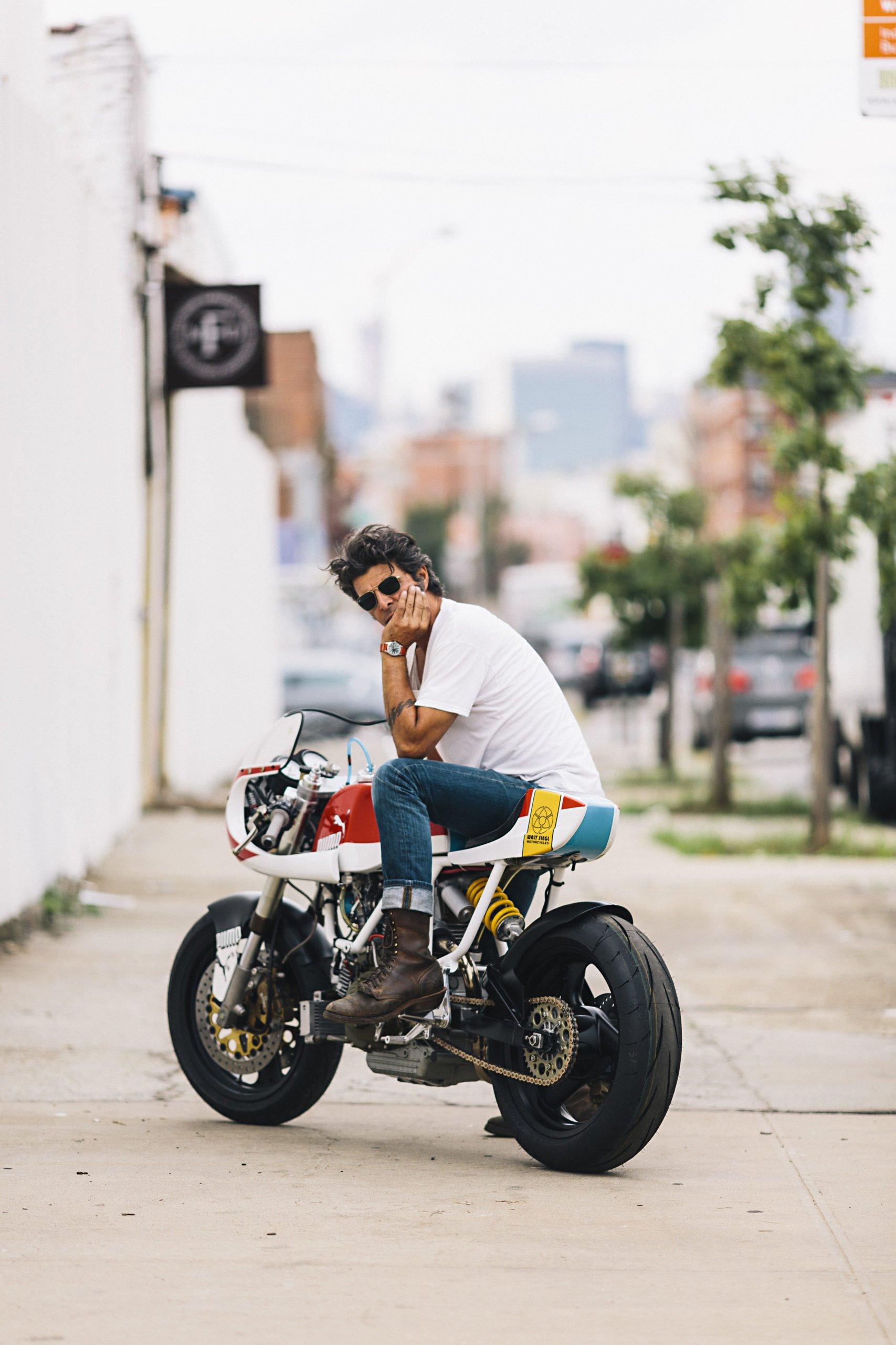 Walt Siegl on motorcycle