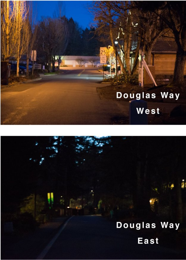 Comparison of West and East Douglas Way. The east side is much darker.