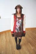 "Designer Catherine Menzel modeling her own design, ""Siberian Industrial Revolution."""