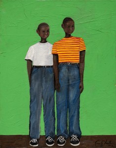 A portrait of two of Rose's brothers as children, standing tall against a green background.