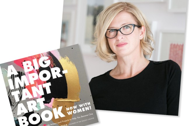 """There are two images within the frame: the first is the book cover for """"A Big Important Art Book (Now with Women"""", and above that is a headshot of Danielle Krysa, wearing glasses and looking directly at the camera."""
