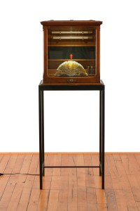A wooden chest with a door of glass sits on top of thin, wooden legs. Inside the chest is an open book, with pages fanned. A red prism-shaped pendulum hangs by a string, hovering over the book.