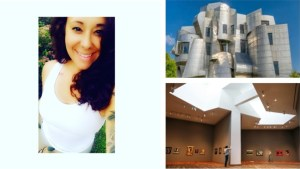 A photo of a smiling yoga instructor, Nique, with dark brown hair and a white tank top, pictured next to an exterior photograph of the Weisman Art Museum's silver facade and a photograph of an empty gallery at the Weisman Art Museum