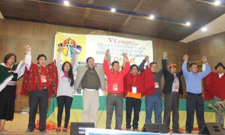 Dignidades y resoluciones del V Congreso de la CONAIE