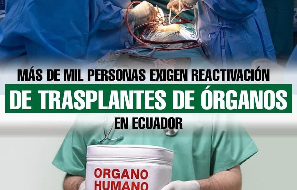 Más de mil personas exigen reactivación de  trasplantes de órganos en Ecuador