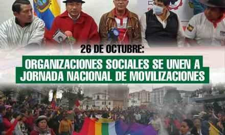 26 de octubre: Organizaciones sociales se unen a jornada nacional de movilizaciones