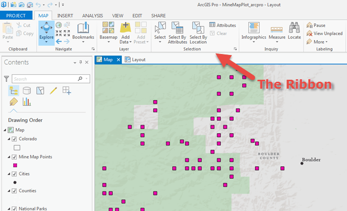 The ArcGIS Pro user interface. Note the Microsoft-style ribbon across the top.