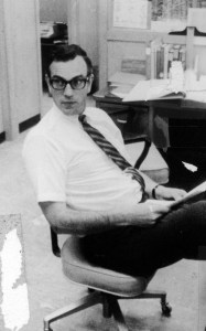 An undated photograph of Bob in his office at the UCSB Library