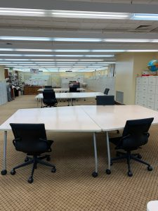 Map library tables with limited seating and 6 ft distance between each seat.