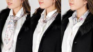 いつものシャツスタイルをワンランクアップするスカーフの結び方♡Vol.1