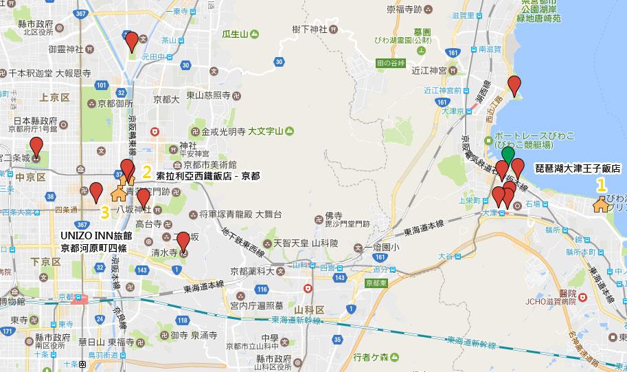 夏京都飯店住宿位置