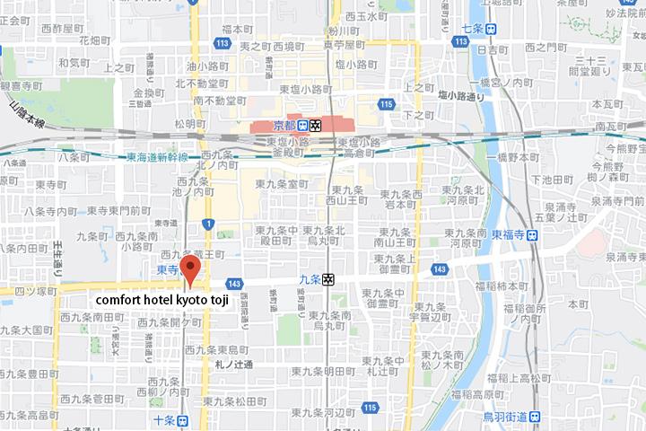 comfort-hotel-kyoto-toji-map