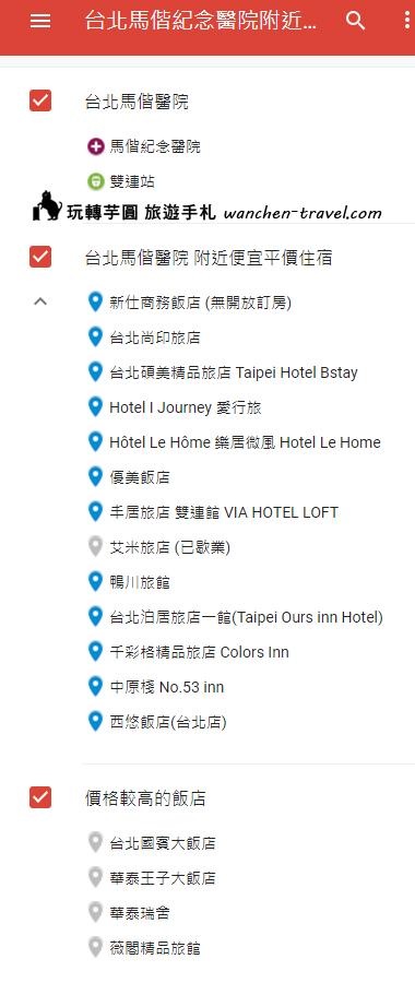台北馬偕紀念醫院附近住宿清單